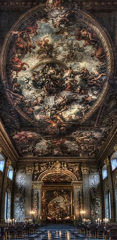 "Must See! Painted Hall . Greenwich, London. This painting is called ""The Sistine Chapel of UK"", it is said to be the most decorative painting in all of England! I would love to gaze upon this with my own eyes! In my opinion pictures never truly do justice to such beautiful works of art."