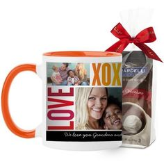 Family Love Hugs Mug, Orange, with Ghirardelli Premium Hot Cocoa, 11 oz, Red