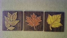 inspiration for 3 sogs  3 Panel Fall Leaves Nail and String Art by brokenwingArts on Etsy