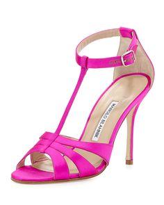 Manolo Blahnik Dioniga Satin 105mm Sandal, Fuchsia (Pink) · T Strap ShoesAnkle  ...