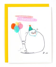 Birthday Cat Card  Party Balloons  Funny Birthday by jamieshelman