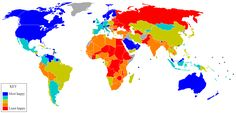 The Satisfaction with Life Index was created by Adrian G. White, an analytic social psychologist at the University of Leicester, using data from a It is an attempt to show life satisfaction in different nations. World Happiness, What Is Happiness, Leicester, Map Globe, Cartography, Map Art, Let It Be, Geography, University