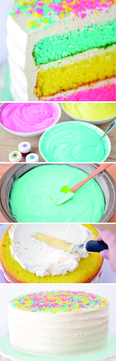 Whip up this adorable cake for Easter Sunday featuring pretty pastel layers! Moist vanilla cake mix is divided into three separate pans, each colored with a different Spring-inspired hue.