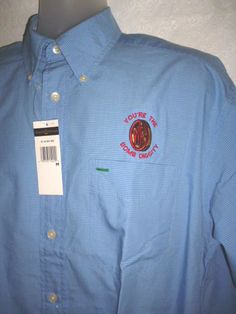 NWT TOMMY HILFIGER GOLF Blue Dress Shirt Long Sleeve 'You're the Bomb Diggity' M #TommyHilfiger