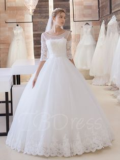 Tbdress.com offers high quality Half Sleeve Lace Tulle Appliques Ball Gown Wedding Dress Latest Wedding Dresses unit price of $ 181.99.