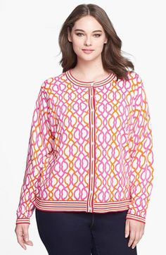 I would love this over a orange dress wit wedges during summerFoxcroft Lattice Pattern Cardigan (Plus Size) | Nordstrom #plus #plussize #fashion