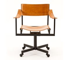 Mid-Century Office Chair in Steel, Leather & Patinated Bronze JM Franck atelier viollet