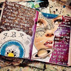 Workity working in my sketchbook. It's getting mighty full!! #art #artjournal…