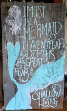 Barnwood Mermaid Sign, Hand Painted, Original, Glittered, Beach  This listing is for a smaller Barnwood Painting, hand written, hand painted and glittered . It measures 30 inches tall by about 17 or 18 inches wide.  You can choose to have the letters shadowed or not. I will have your sign painted and sent out within 2 weeks.   Shipping is an estimate and varies by location, please email me for a shipping quote.  I REFUND OVERPAID SHIPPING