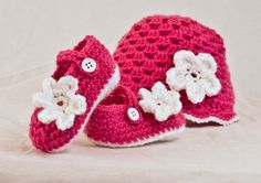 Excited to share the latest addition to my #etsy shop: Handmade Baby girl Crochet Mary Jane's and beanie, infant bootie and hat set, newborn-12 months #clothing #shoes #children #pink #babygirlshoes #babygirlbooties #babymaryjanes #babygirlbeanie #babygirlhat