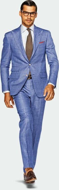 blue window pane summer suit