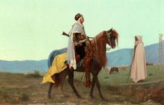Gustave Clarence Rodolphe Boulanger An Arab Horseman painting anysize 50% off - An Arab Horseman painting for sale