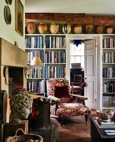 What was a long living room in the gardeners bothy is now a more functional space with a large dividing bookcase creating a single… Small Space Living, Living Area, Small Spaces, Living Spaces, Living Room, Everything But The House, Bothy, Interior Exterior, Fine Furniture