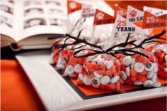 Bring your school spirit to the next  class reunion with personalized MY MM'S party favors featuring your school colors and school mascot.