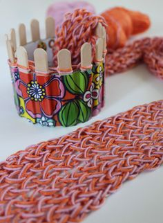 Spool- (or, French-) knit a skinny scarf with a homemade knitter.