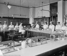 Developing the nation: Female students study home economics in a lab at McKinley High School in Washington D.C. in 1910