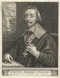 Christiaan Hagen | Portret van  Armand-Jean du Plessis, hertog van Richelieu, Christiaan Hagen, c. 1663 - 1695 | Portret ten halven lijve naar links van Armand-Jean du Plessis, hertog van Richelieu aan een tafel voor een boekenkast. Om zijn hals een Hugenotenkruis. Voor hem ligt papier en op de achtergrond is een doorkijk naar een landschap met bomen. Onder zijn portret een plint, waarop zijn naam en titel in twee regels in een cartouche.