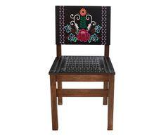 Cadeira Frida Flor - Preta | Westwing - Casa & Decoração