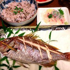 地味なメニューですが三男の大好物ばかりなんです13歳おめでとう✨ - 143件のもぐもぐ - 三男の13才のお誕生日めで鯛&赤飯 by masamasa527