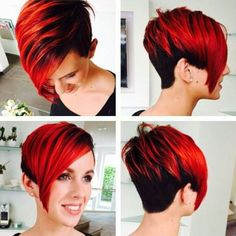 Lovely red hair dyeing layout - All For Hair Color Trending Short Red Hair, Short Wedding Hair, Short Hair Cuts, Brown Blonde Hair, Dark Hair, Short Hairstyles For Women, Cool Hairstyles, Hairstyle Short, Melena Bob