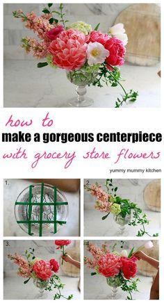Garden Party how to make a beautiful floral arrangement with grocery store flowers.Garden Party how to make a beautiful floral arrangement with grocery store flowers Diy Flowers, Fresh Flowers, Flower Decorations, Beautiful Flowers, Wedding Flowers, Flowers Garden, Centerpiece Flowers, Green Hydrangea Wedding, Wedding Bouquets