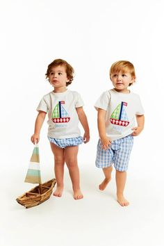 faac8b55ec Blue Check Applique Sailboat Short Set - Smocked Threads by Cecil and Lou  Smocked Clothing,