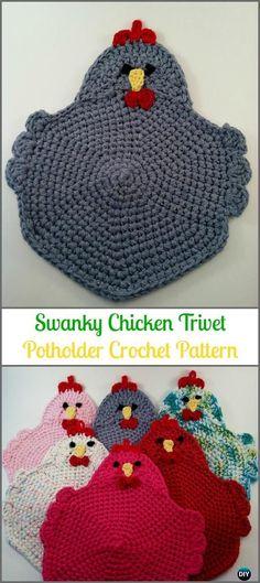 Crochet Swanky Chicken Trivet Potholder Paid Pattern -Easter Crochet Chicken Potholder Patterns #tejido