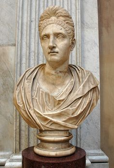 Pompeia Plotina, wife of Emperor Trajan, adoptive mother of Emperor Hadrian, (colossal) Roman bust (marble), 2nd century AD, (Musei Vaticani, Vatican City).
