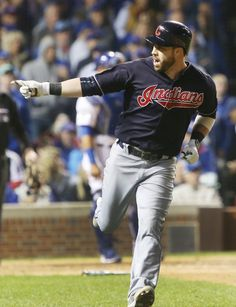 Cleveland Indians second baseman Jason Kipnis points to the Indians bench after hitting a three run home run in the seventh inning of Game 4 of the World Series. Indians won 7-2  (Thomas Ondrey / The Plain Dealer)  October 29, 2016.