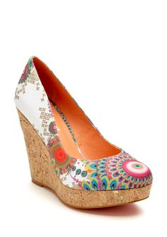 LOVE this Desigual wedge!!!  Gorgeous print and can't go wrong with a cork wedge in the spring/summer! @ideeli