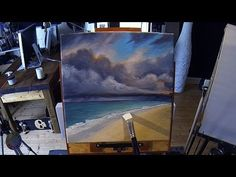 Stormy Beach - Acrylic Painting Lesson For Begginers In Real Time Acrylic Painting Lessons, Acrylic Painting Tutorials, Painting Videos, Painting & Drawing, Acrylic Canvas, Seascape Paintings, Painting Techniques, Stain Techniques, Learn To Paint