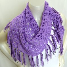Crochet Triangle Scarf with fringe: Lavender Shawl with tassels by MarieAntoinknit for 9ElizabethStreet