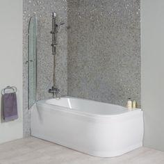 1600 Micro Luxury Left Handed Shower Bath With Straight Bath Screen.  Straight BathsBath ScreensCorner ShowersLeft ...