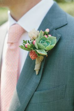 coral and gray wedding colors, succulent boutonniere - One Love Photography on Style Me Pretty