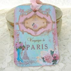 Tags Gift Hang Bridal  Shower Party Favor Vintage Paris Voyage Tea Party Set of 6 Handmade by Enchanted Quilling