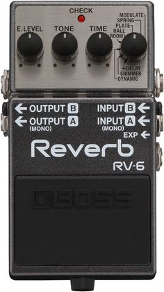 BOSS RV-6 Digital Reverb The BOSS RV-6 is a new standard in pedal reverb. BOSS technology powers this compact pedal that delivers studio-level reverb sounds! Studio-grade reverb tones. - Eight differe
