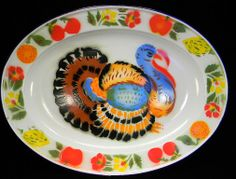 Vintage Enamel Platter with Colorful Turkey Platter