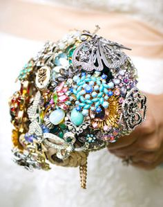 Vintage Brooch bouquet - I love this idea. Lasts longer and sparkles more than real flowers!
