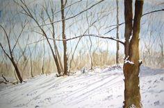 snow scenes in watercolor