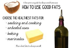 Use good fats print-out guide / @Empowered Sustenance / http://empoweredsustenance.com/essential-guide-to-choosing-and-using-good-fats-print-out/