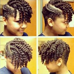 Flat twist with twist out. Looks like shaved sides but they are not. Loved by Neno Natural.