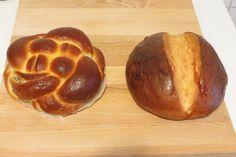 A sinistra una challah con ripieno di mele granny (qui la ricetta: http://toriavey.com/toris-kitchen/2012/09/apple-honey-challah/). A destra un pane ungherese con semi di finocchio frantumati.