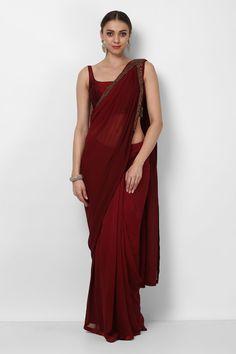 Rosewood Color Silk Saree With Silk Blouse - Dress Indian Style, Indian Dresses, Indian Outfits, Sari Design, Bridesmaid Saree, Sari Dress, Simple Sarees, Stylish Sarees, Dresses