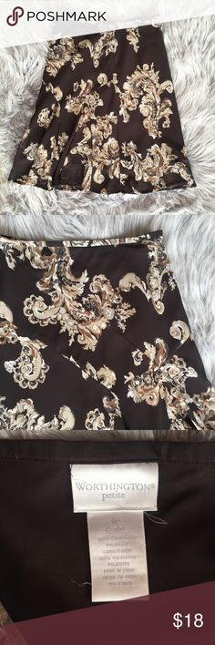 Worthington knee-length skirt Gently worn. No holes, stains, or loose threads. Chocolate brown with gold design (not reflective). Knee length. Comfortable and flowy material. Smoke free home.❕better deal on shipping if you bundle❕ Worthington Skirts Midi