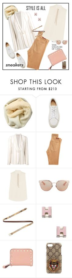"""""""So Fresh: White Sneakers♥♥♥"""" by marthalux ❤ liked on Polyvore featuring Brunello Cucinelli, rag & bone, AG Adriano Goldschmied, Christian Dior, Dries Van Noten, Hermès, Valentino, Gucci, StreetStyle and whitesneakers"""
