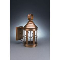 Northeast Lantern Heal 1 Light Outdoor Wall Lantern Finish: Raw Brass, Shade Type: Clear Seedy