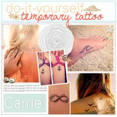 """""""DIY Temporary Tattoo ♥"""" by for-the-love-of-tips on Polyvore What you need ♥ ~ a sharpie ~ baby powder ~ hair spray What to do ♥ 1. Draw your tattoo on your skin with a sharpie 2. Rub baby powder on your tattoo 3. Spray the tattoo with hair spray"""