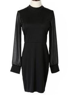 Shop Black Chiffon Panel Backless Long Sleeve Bodycon Dress from choies.com .Free shipping Worldwide.$19.99