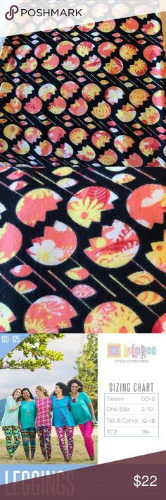 Lularoe TC Leggings: 💕 Bundle and Save 💕 TC Leggings fit sizes 12-18. This yellow and orange  tulip pattern on a black background is so cheerful and fun you have to smile! Brand new and never worn from a Smoke free home. LuLaRoe Pants Leggings