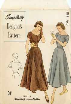 Simplicity 8186 The Simplicity Pattern Co., Inc. 1949© Vintage Sewing Pattern Misses, Bateau Neck Dress with neckline slit and button trim, flared gored skirt in evening or Ballet Length, Sleeves are short, set-in with gathers at underarm gussets. A: Petal Sleeves, 10 printed tissues. Level of Difficulty: Average Misses, Women Size 18 Bust 36 Waist 30 Hip 39 Cut/Complete. At CynicalGirl on etsy.com. jwt